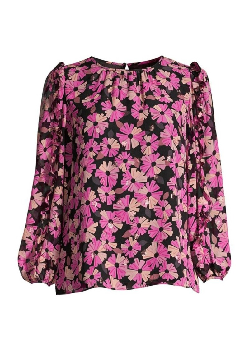 Kate Spade Wallflower Puff Shoulder Chiffon Blouse