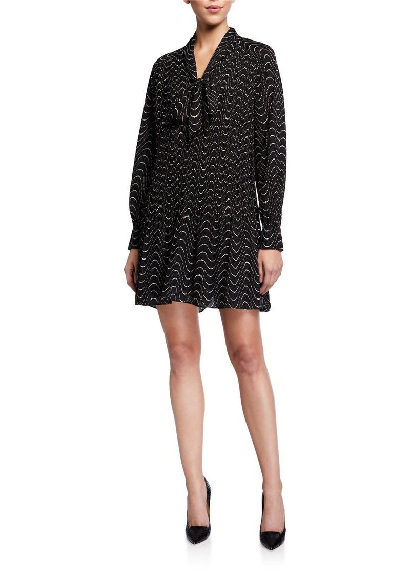 Kate Spade wavy dot long-sleeve mini shift dress