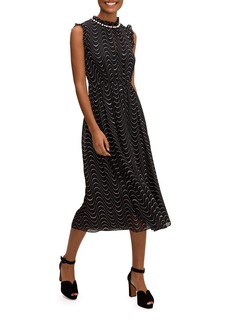 Kate Spade wavy dot sleeveless silk dress