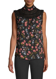 Kate Spade Wild Ones Meadow Lace Trim Top