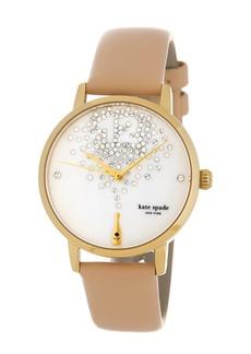 Kate Spade women's metro tan vachetta leather strap watch, 34mm
