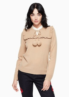 Kate Spade wool cashmere pom sweater
