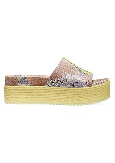 Kate Spade Zia Snakeskin-Embossed Leather Espadrille Flatform Sandals