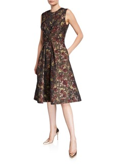 Kay Unger New York Adrianna Floral Jacquard Dress w/ Pockets