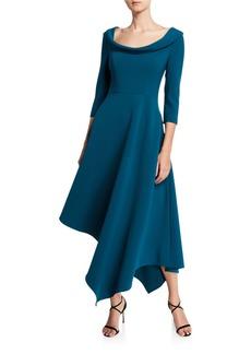 Kay Unger New York Arianna Boat-Neck 3/4-Sleeve Asymmetric Midi Dress