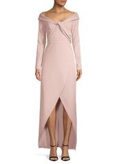 Kay Unger New York Asymmetric Off-The-Shoulder Dress