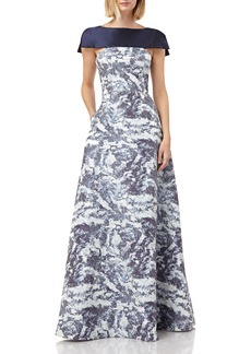 Kay Unger New York Boat-Neck Printed Jacquard Gown with Faux Capelet & Pockets