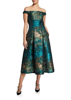 Kay Unger New York Carina Abstract Brocade Off-the-Shoulder Midi Dress
