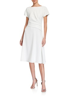 Kay Unger New York Cascade Ruffle Crepe A-Line Dress