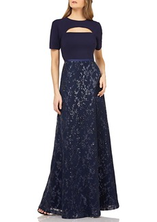 Kay Unger New York Cutout Crepe Gown w/ Sequin Skirt