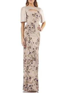 Kay Unger New York Cutout Mikado & Lace Gown w/ Sequin Embroidery