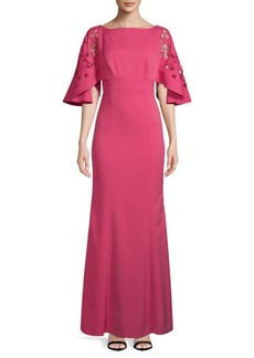 Kay Unger New York Embroidered Cutout Gown