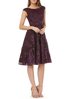 Kay Unger New York Extended sleeve sequin embro