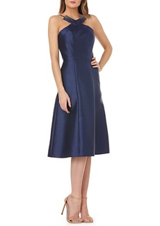 Kay Unger New York Fit-and-Flare Halter Dress w/ Beading