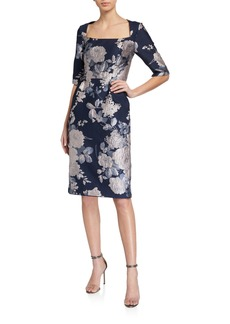 Kay Unger New York Floral Jacquard Sheath Dress