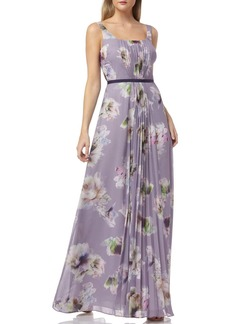 Kay Unger New York Floral Print Pleated Chiffon Evening Dress