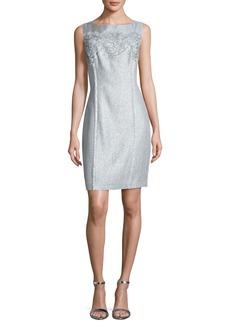Kay Unger New York Floral Tweed Sheath Dress  Sky Blue