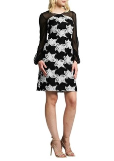 Kay Unger New York Illusion Floral Cocktail Dress