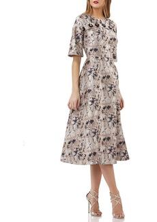 Kay Unger New York Jacquard Dolman-Sleeve Dress