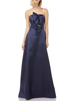 Kay Unger New York Kay Unger 3D Appliqué Strapless Mikado Gown