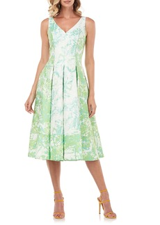 Kay Unger New York Kay Unger Abstract Print Midi Cocktail Dress