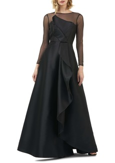 Kay Unger New York Kay Unger Adele Long Sleeve Appliqué Gown