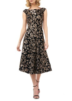 Kay Unger New York Kay Unger Alessia Sequin & Velvet Fit & Flare Midi Dress