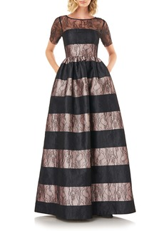 Kay Unger New York Kay Unger Alexis Stripe Floral Lace Ballgown
