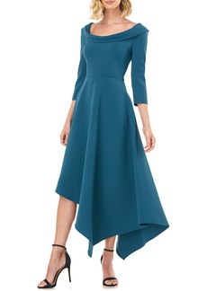 Kay Unger New York Kay Unger Arianna Asymmetrical Hem Midi Dress