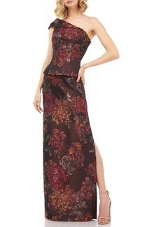 Kay Unger New York Kay Unger Asia Kensington Jacquard One-Shoulder Evening Gown