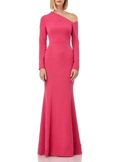 Kay Unger New York Kay Unger Asymmetrical Neck Long Sleeve Mermaid Gown