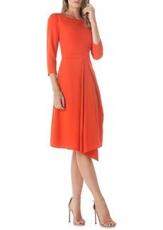 Kay Unger New York Kay Unger Asymmetrical Pleat V-Back Dress