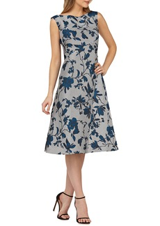 Kay Unger New York Kay Unger Bateau Neck Tea-Length Dress