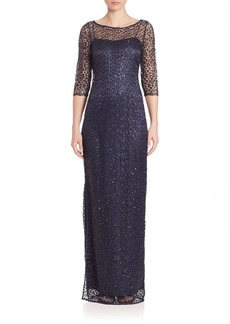 Kay Unger New York Kay Unger Beaded Lace Sheath Gown