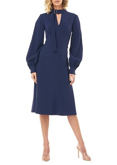 Kay Unger New York Kay Unger Belt Collar Long Sleeve Stretch Crepe Dress
