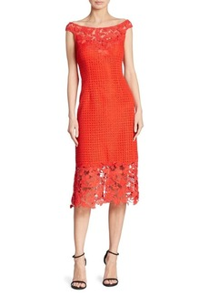 Kay Unger New York Kay Unger Floral Lace Sheath Dress