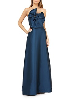 Kay Unger New York Kay Unger Bow Front Straplles Mikado Evening Dress