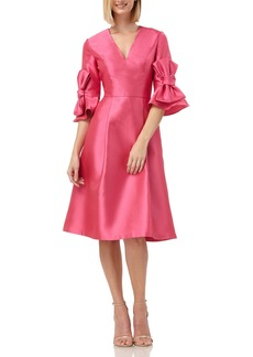 Kay Unger New York Kay Unger Bow Sleeve Mikado Fit & Flare Dress
