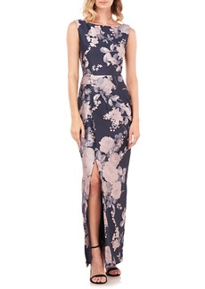 Kay Unger New York Kay Unger Cameron Floral Jacquard Column Gown