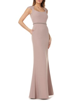 Kay Unger New York Kay Unger Cap Sleeve Stretch Crepe Gown