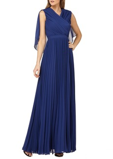 Kay Unger New York Kay Unger Capelet Sleeves Pleated Evening Dress