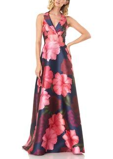 Kay Unger New York Kay Unger Carolina Floral Mikado Gown