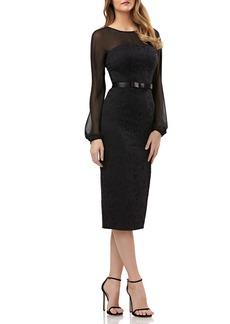 Kay Unger New York Kay Unger Chiffon & Lace Sheath Dress
