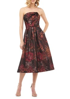 Kay Unger New York Kay Unger Claudia Kensington Strapless Jacquard Cocktail Dress