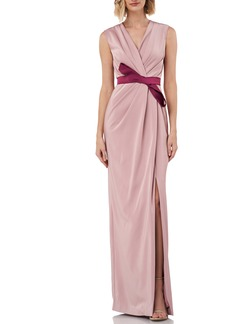 Kay Unger New York Kay Unger Contessa Stretch Faille Column Gown