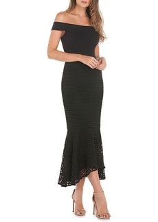 Kay Unger New York Kay Unger Crepe & Lace Off the Shoulder Dress