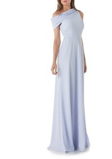 Kay Unger New York Kay Unger Crêpe de Chine One-Shoulder Gown