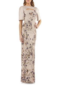 Kay Unger New York Kay Unger Cutout Detail Embroidered Beaded Gown