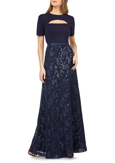 Kay Unger New York Kay Unger Cutout Sequin Evening Gown