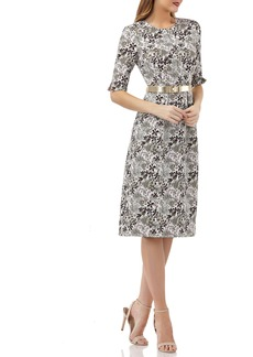 Kay Unger New York Kay Unger Elbow-Sleeve Belted Sheath Dress